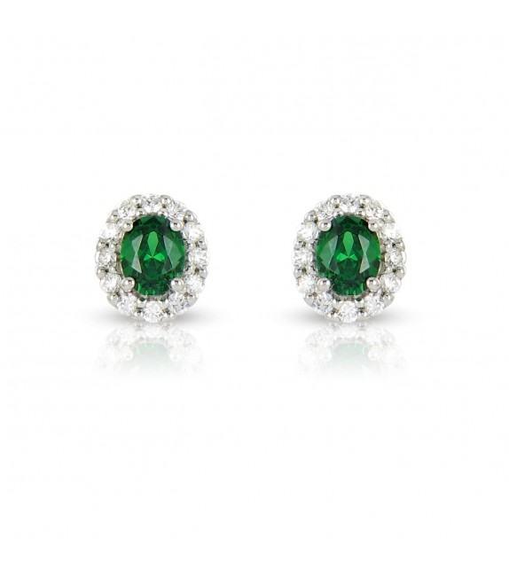 Boucles d'oreilles en Or blanc 375/00, diamants et émeraudes