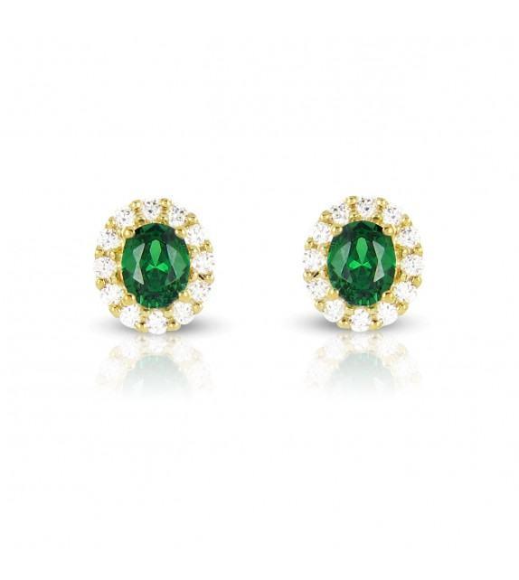 Boucles d'oreilles en Or jaune 375/00, diamants et émeraudes