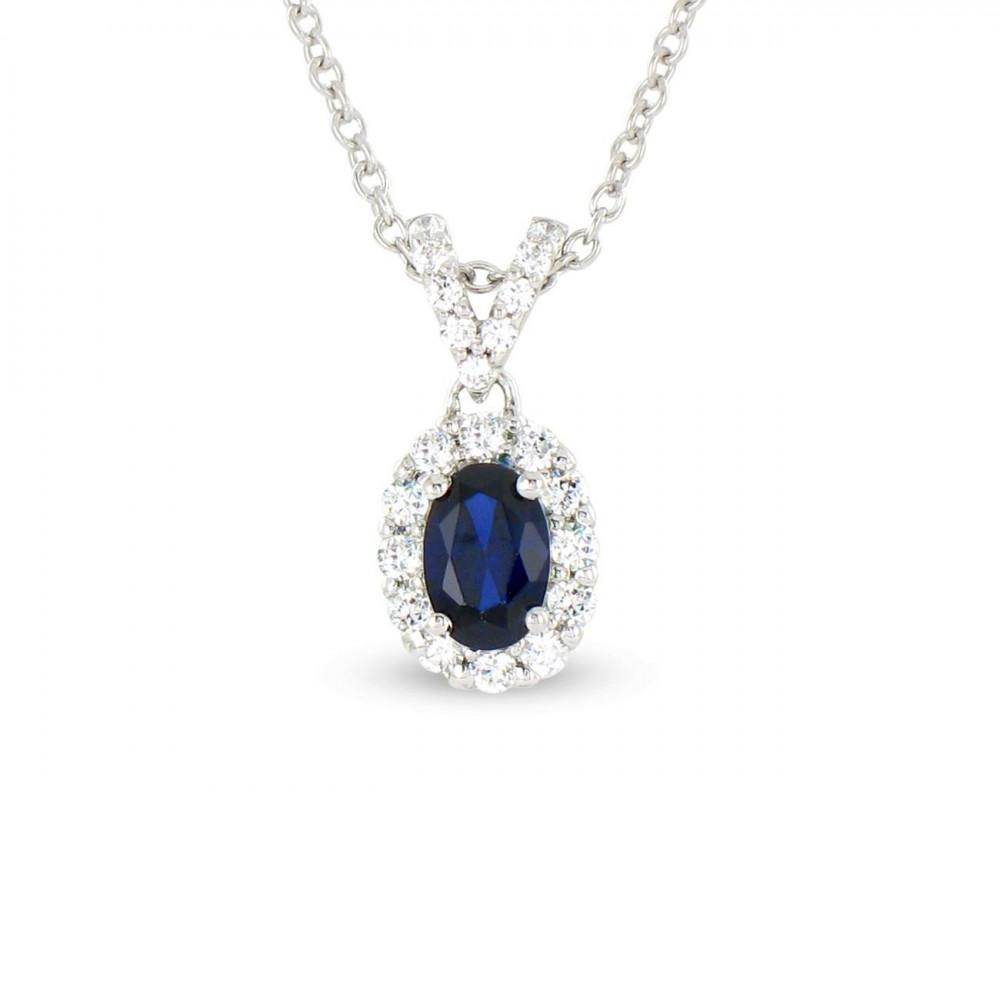 Collier en Or blanc 375/00, diamants et saphir