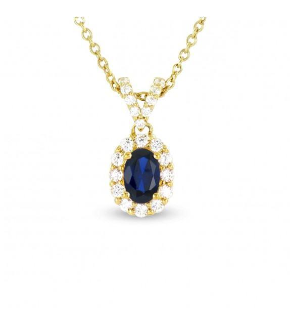 Collier en Or jaune 375/00, diamants et saphir