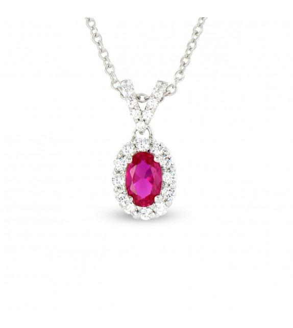 Collier en Or blanc 375/00, diamants et rubis
