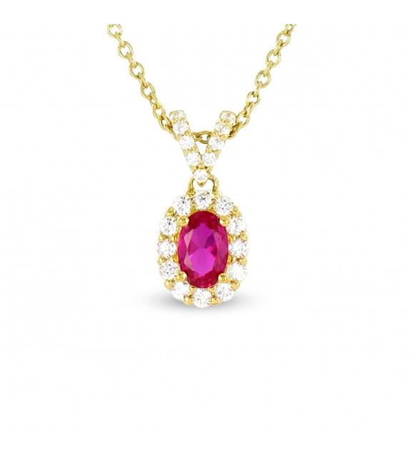 Collier en Or jaune 375/00, diamants et rubis