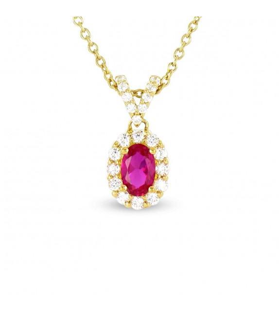 Collier en Or jaune 375/00, diamants et rubis