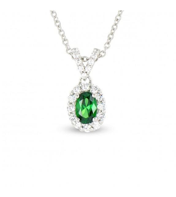 Collier en Or blanc 375/00, diamants et émeraude