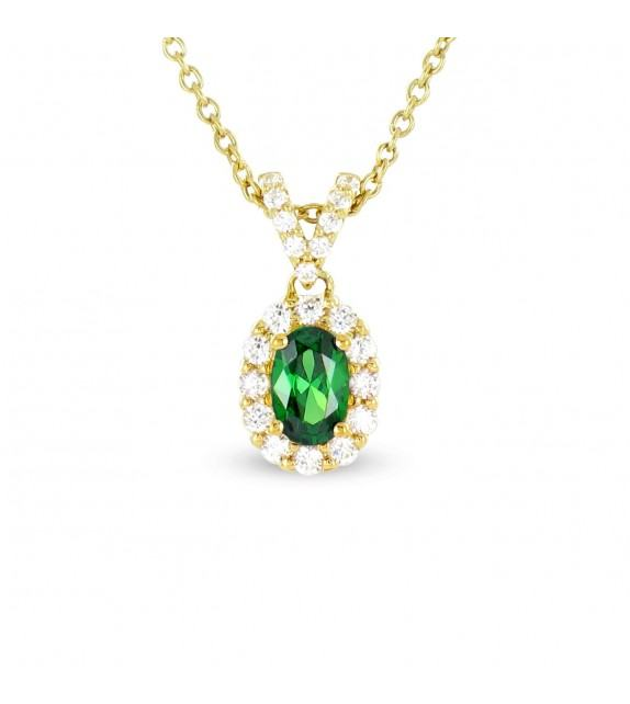 Collier en Or jaune 375/00, diamants et émeraude