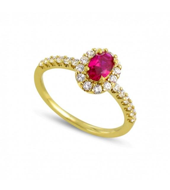 Bague en Or jaune 375/00, diamants et rubis