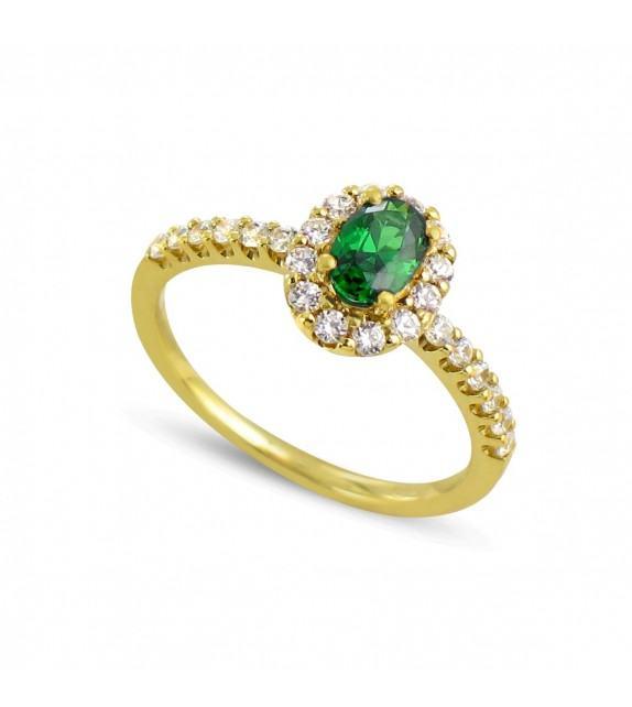 Bague en Or jaune 375/00, diamants et émeraude