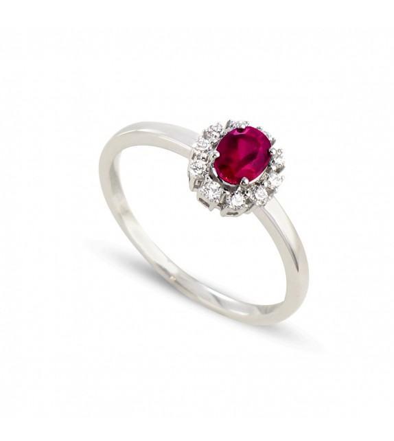 Bague en Or blanc 375/00, diamants et rubis