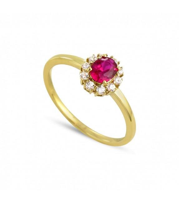 Bague en Or jaune 375/00, diamants et rubis