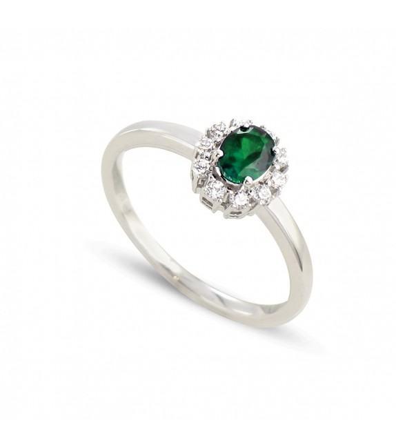 Bague en Or blanc 375/00, diamants et émeraude