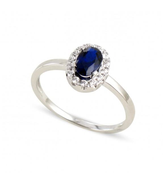 Bague en Or blanc 375/00, diamants et saphir