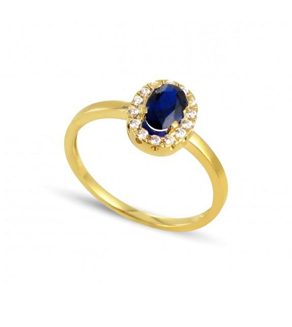 Bague en Or jaune 375/00, diamants et saphir