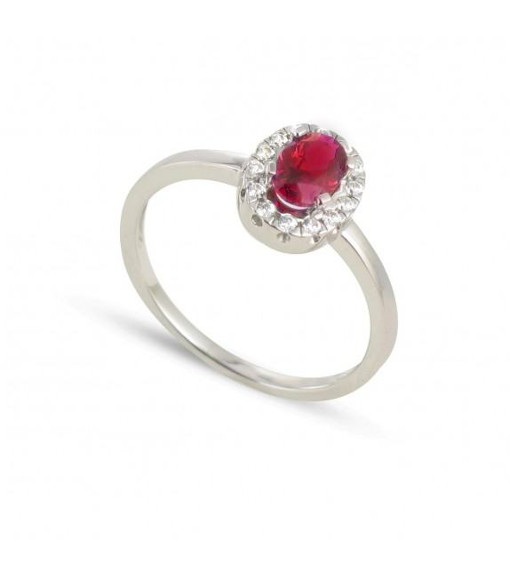 Bague en Or blanc 375/00, diamants et rubis