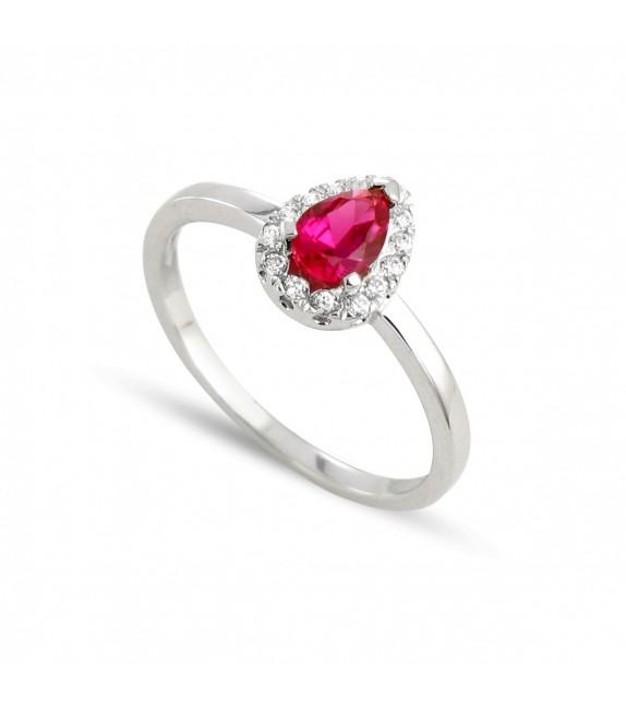 Bague poire en Or blanc 375/00, diamants et rubis
