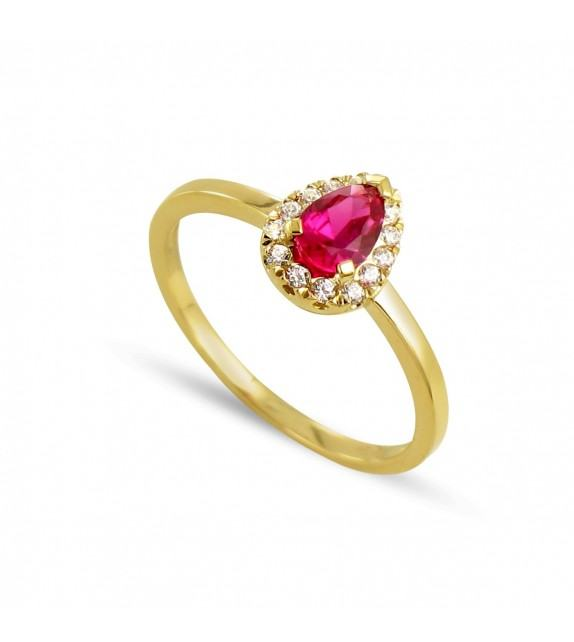 Bague poire en Or jaune 375/00, diamants et rubis