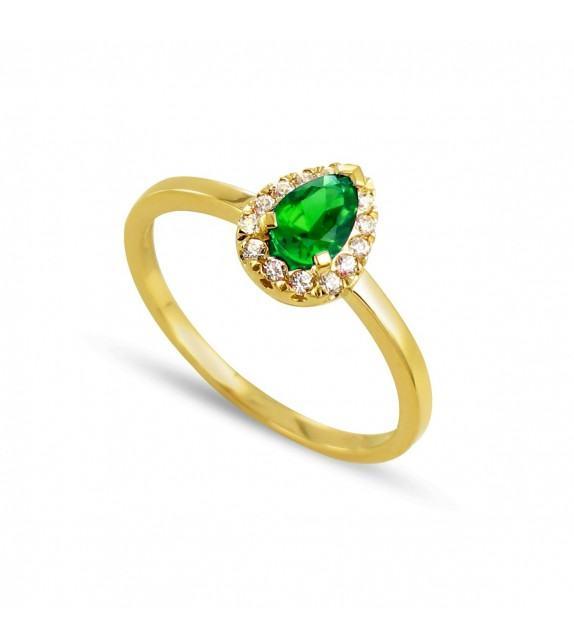 Bague poire en Or jaune 375/00, diamants et émeraude