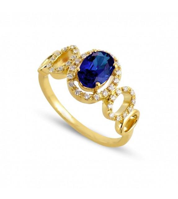 Bague cassandre en Or jaune 750/00, diamants et saphir