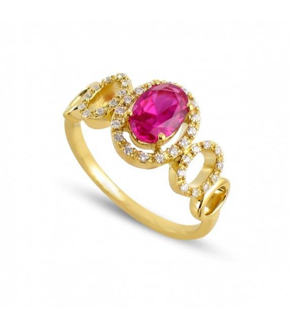 Bague cassandre en Or jaune 750/00, diamants et rubis