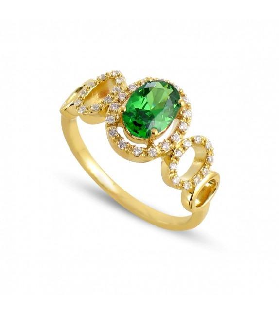 Bague cassandre en Or jaune 750/00, diamants et émeraude