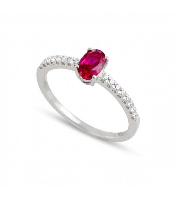 Bague en Or blanc 750/00, diamants et rubis