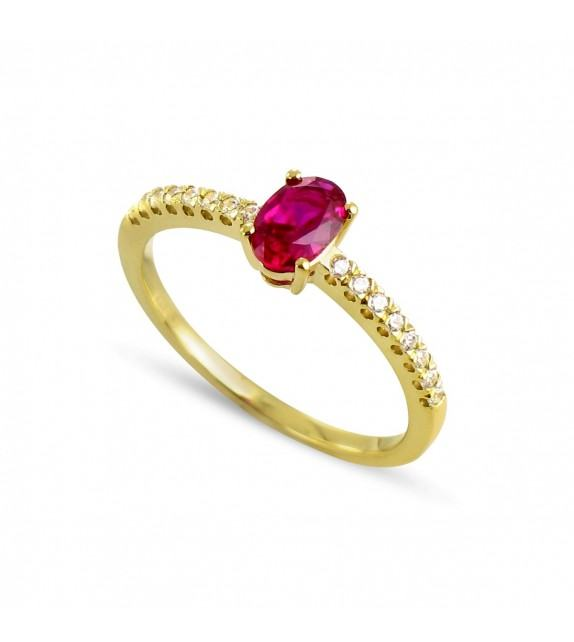 Bague en Or jaune 750/00, diamants et rubis