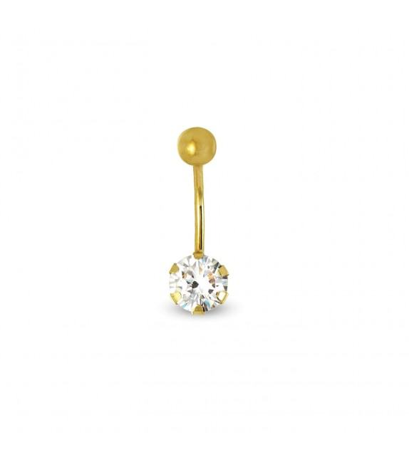 Piercing nombril Or jaune 375/00 et zircon