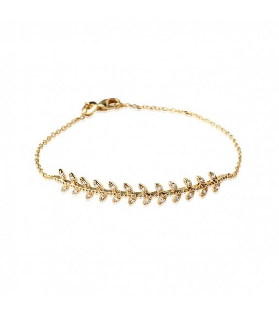 Bracelet Rameau plaqué Or et zircons