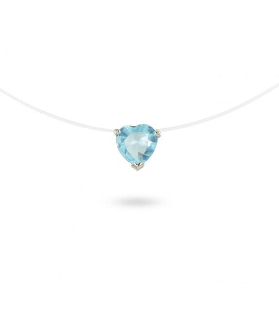 Collier zircon bleu taille cœur sur fil transparent