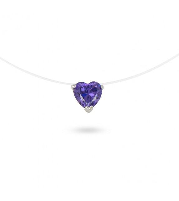 Collier zircon violet taille cœur sur fil transparent