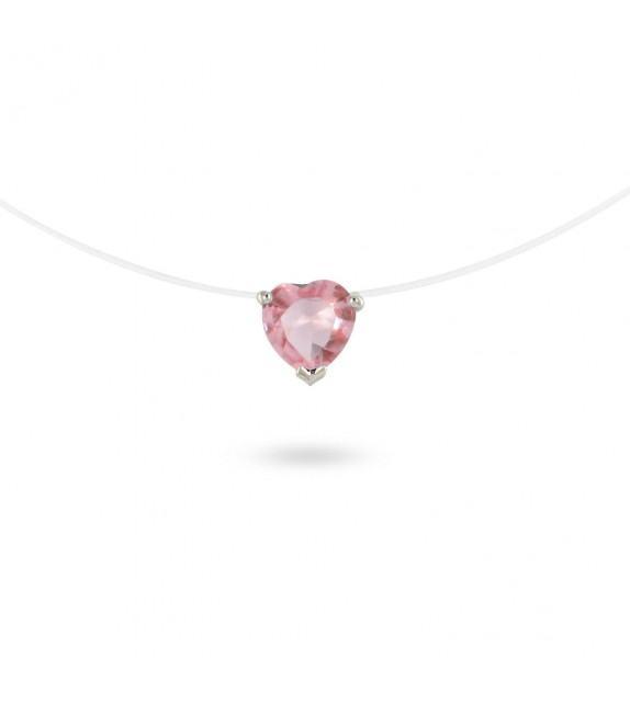 Collier zircon rose taille cœur sur fil transparent