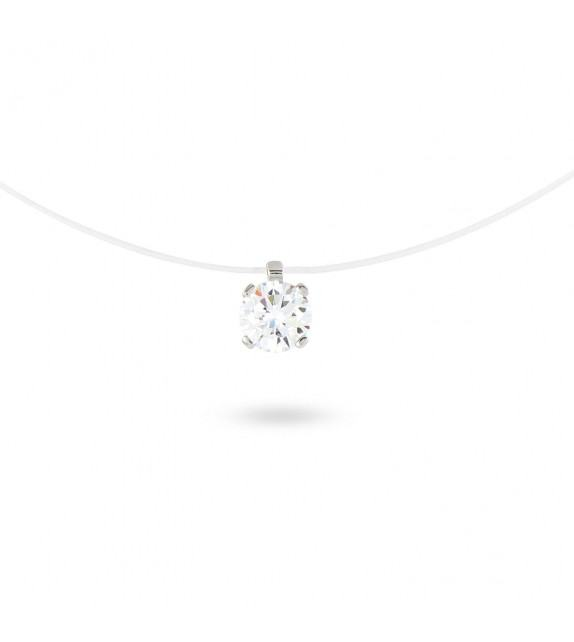 Collier solitaire zircon 5 mm sur fil transparent