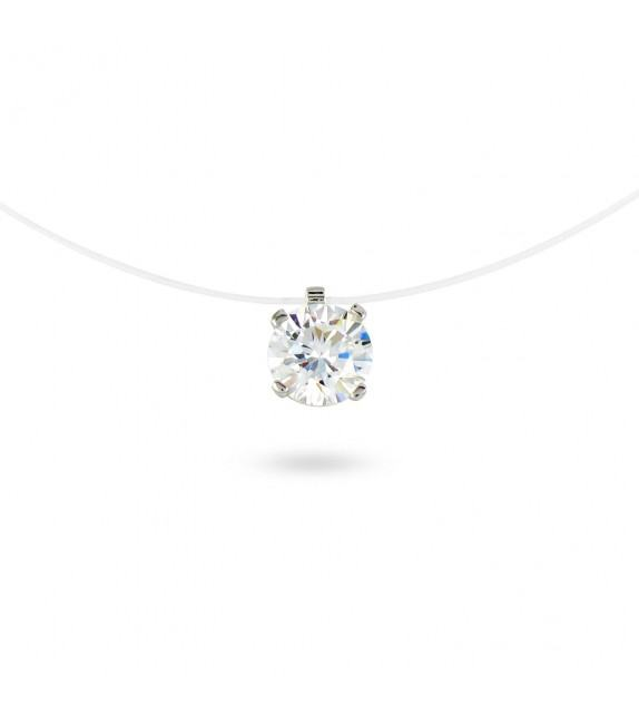Collier solitaire zircon 6,5 mm sur fil transparent