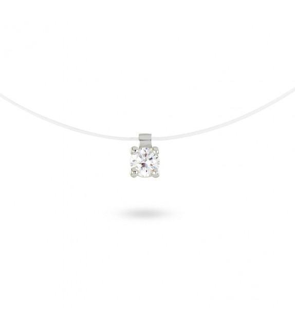Collier solitaire zircon 4 mm sur fil transparent