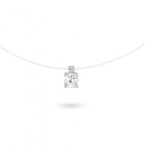 Collier solitaire zircon 4 mm sur fil transparent