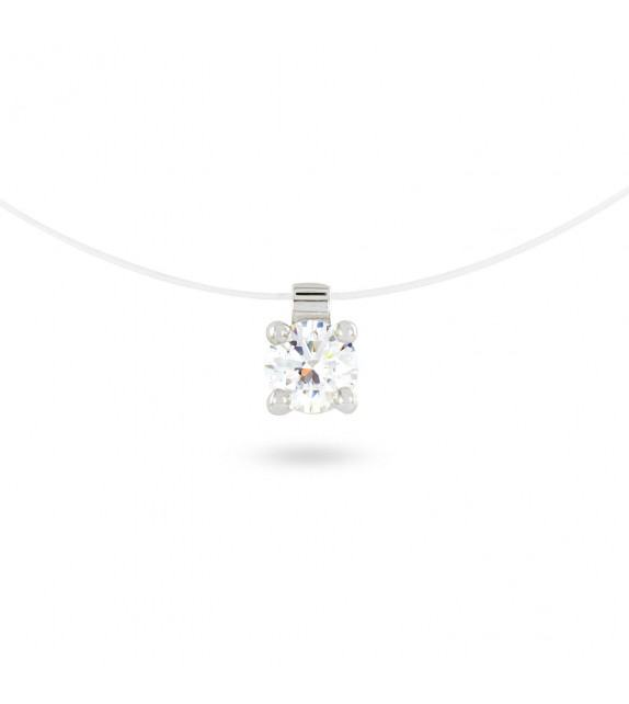 Collier solitaire zircon 6 mm sur fil transparent