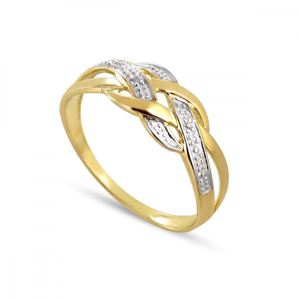 Bague diamant effet tressé Or 375/00 bicolore