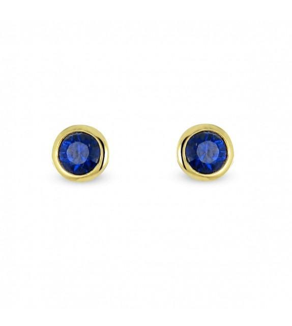 Boucles d'oreilles puces Or jaune 750/00 et saphirs
