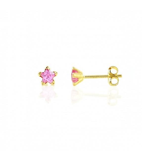 Boucles d'oreilles puces étoilées Or jaune 750/00 et oxydes de zirconium roses