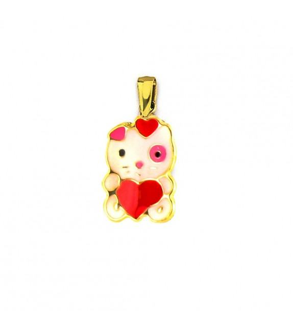 Pendentif enfant petit chat cœur Or jaune 750/00