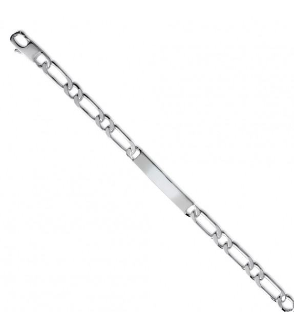 Bracelet identité maille figaro Argent brillant 925/00 - 7mm