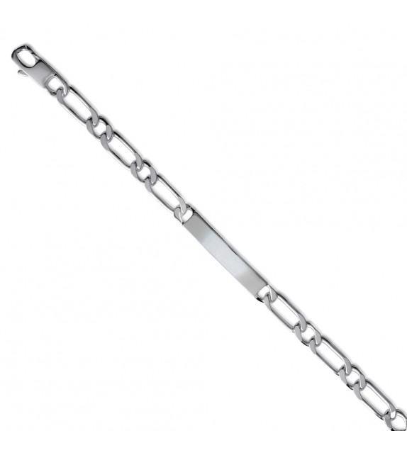 Bracelet identité maille Figaro Argent rhodié 925/00 - 7mm