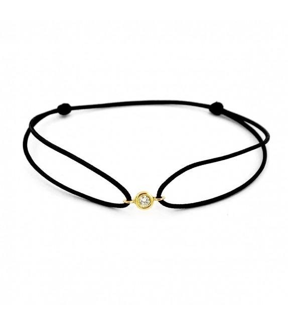 Bracelet diamant serti clos Or jaune 750/00 - noir