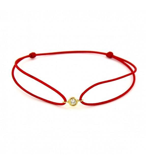 Bracelet diamant serti clos Or jaune 750/00 - rouge