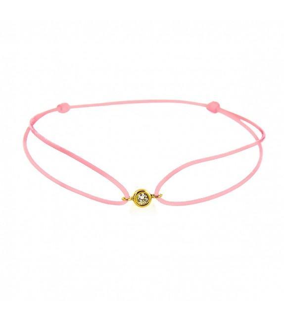 Bracelet diamant serti clos Or jaune 750/00 - rose