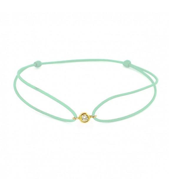 Bracelet diamant serti clos Or jaune 750/00 - vert d'eau