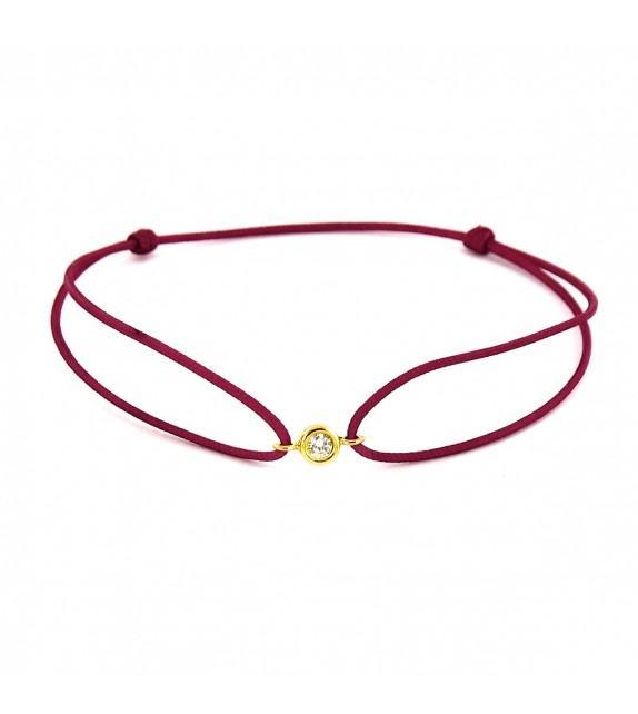 Bracelet diamant serti clos Or jaune 750/00 - bordeaux