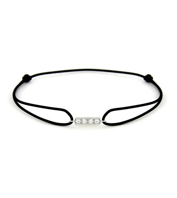 Bracelet barrette diamants Or blanc 750/00 - noir