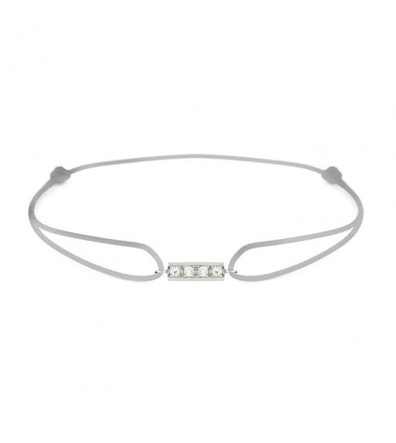 Bracelet barrette diamants Or blanc 750/00 - gris