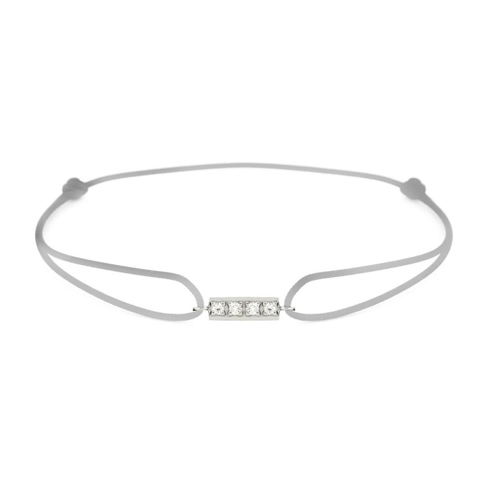 Bracelet barrette diamants Or blanc 750/00 - gris
