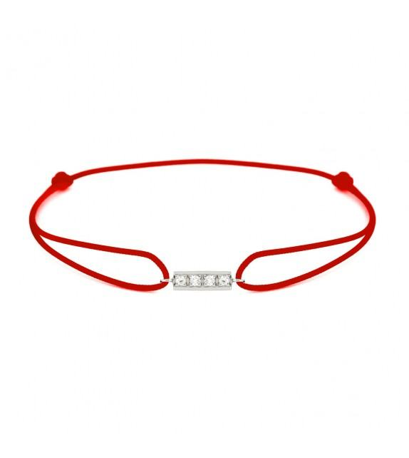 Bracelet barrette diamants Or blanc 750/00 - rouge